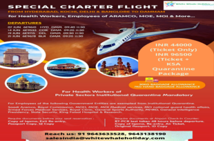 Travel Saudi with special charter flights for health workers